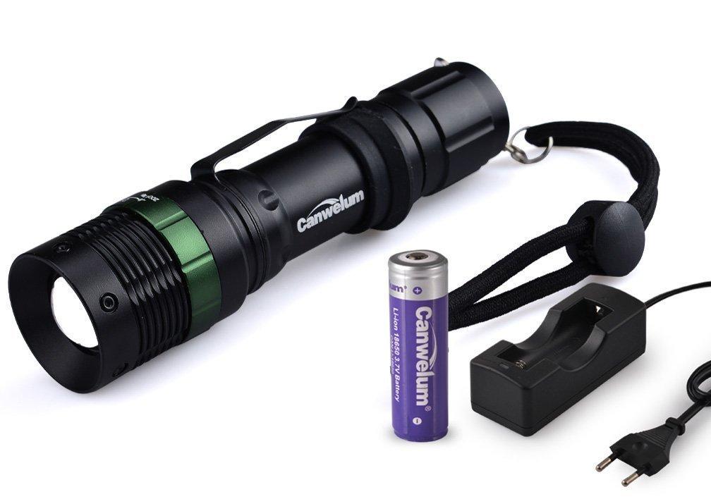 Canwelum Cree Torche LED Rechargeable, Zoom lampe de poche LED (Un ensemble complet avec lampe de poche, la 18650 batterie et chargeur) Canwelum Group Limited