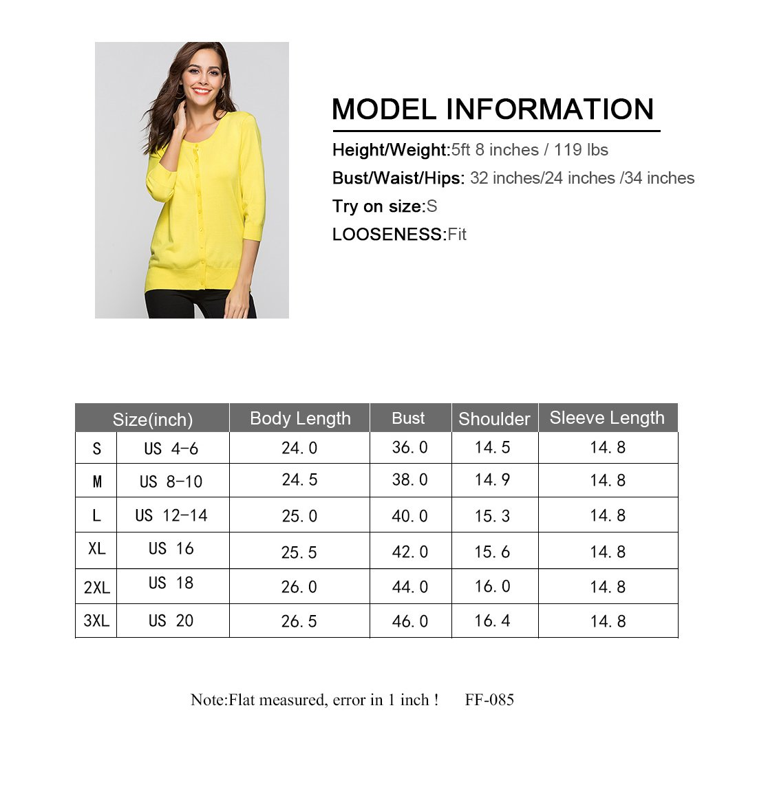 Escalier Women`s Button Down Crewneck 3 4 Sleeve Soft Knit Cardigan Sweaters by Escalier (Image #7)