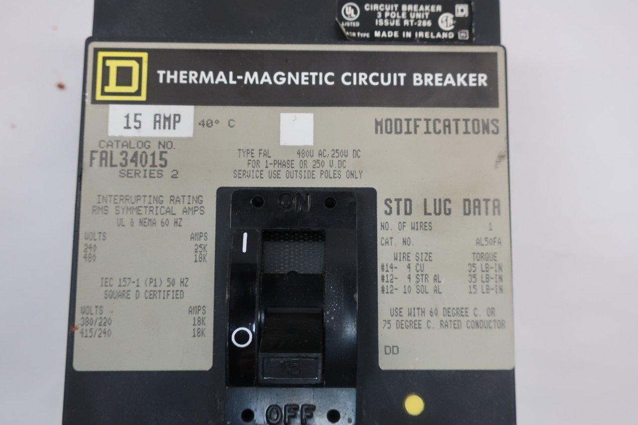 SQUARE D FAL34015 MOLDED CASE CIRCUIT BREAKER 15A AMP 3P 480V-AC SER ...