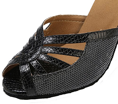 Shoes Stiletto Black Dance Toe Peep Glitter Women's Latin Shoes Metal Wedding Honeystore Heel Buckle Party xB0qOHw6t