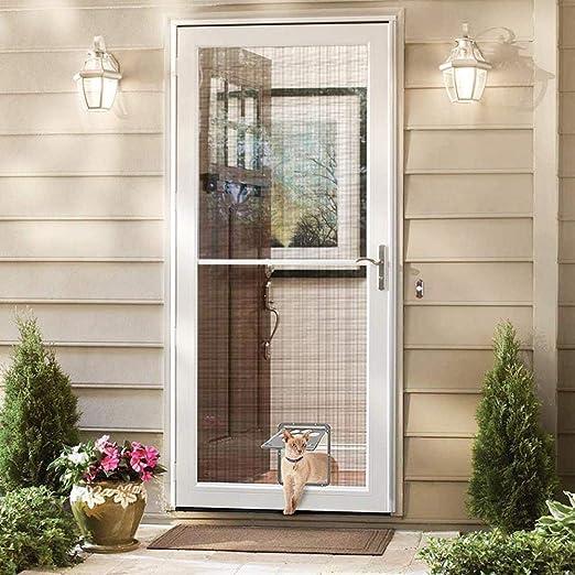 LQLQY Mosquitera para Mascotas Puerta con Solapa Puerta Negra con Cerradura automática para Puerta pequeña para Perros y Gatos, amortiguación silenciosa y Retorno rápido para Perros y Gatos, Gris: Amazon.es: Productos para