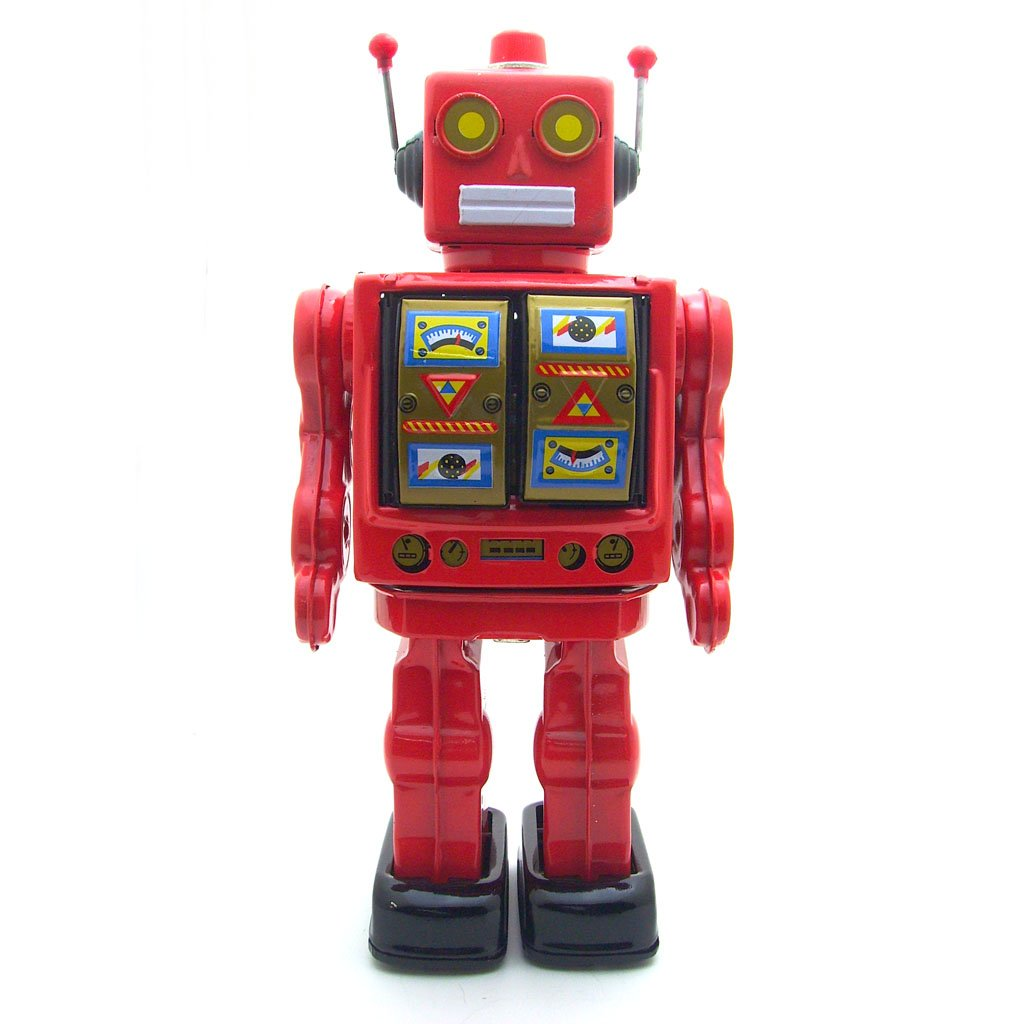 Retro Wind-Up Large Electric Rotate Walking Robot Tin Toy Adult Collectible