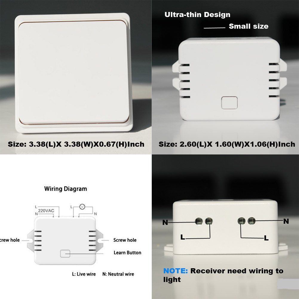 No Battery Wifi Wgoal Self Powered Control Remote Wireless Access Point Wiring Diagram Waterproof Walllight Switch With Receiver One Set Tools Home Improvement