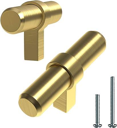 Manijas de puerta de lat/ón cepillado de LONTAN barra en T 12 mm de di/ámetro dorado tiradores de caj/ón para armarios de cocina