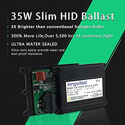 Innovited 35w 12v HID Replacement Slim Ballast for H1 H3 H4 H7 H10 H11 9005 9006 D2r D2s All Sizes: Automotive