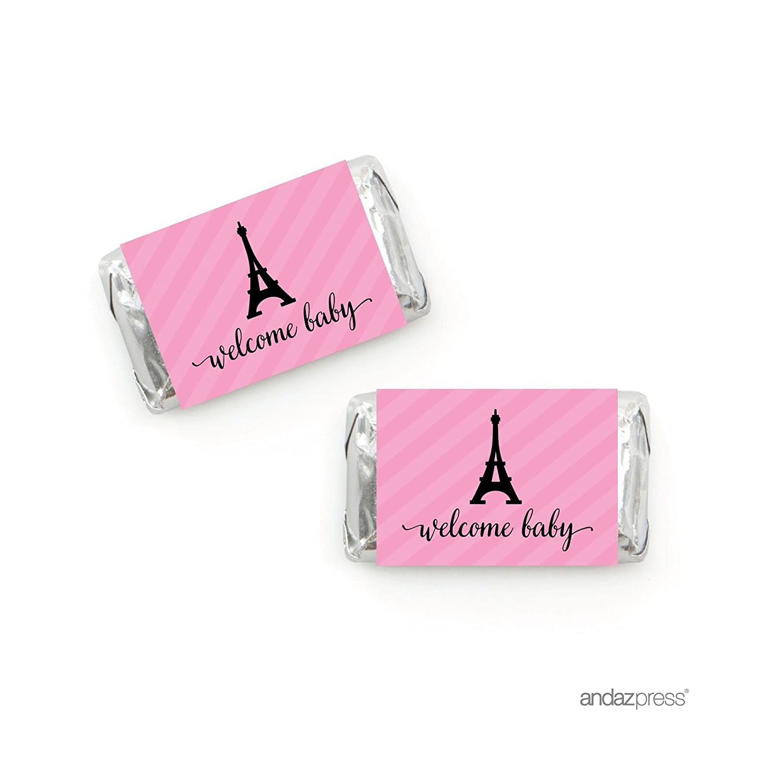40-Pack Andaz Press Paris Bonjour Bebe Girl Baby Shower Collection Paris France Thank you for Celebrating with Us! Pink Themed Party Decorations Round Circle Label Stickers Travel