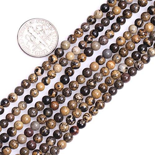 GEM-inside 4mm Natural Brown Artistic Jasper Stone Gemstone Semi Precious Round Spacer Beads for Jewelry Making 15