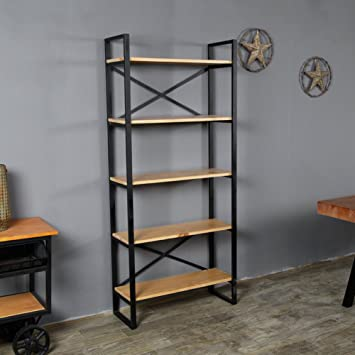 Jx Boos American Retro Etagere Fer Bibliotheque Solide Bois Grille