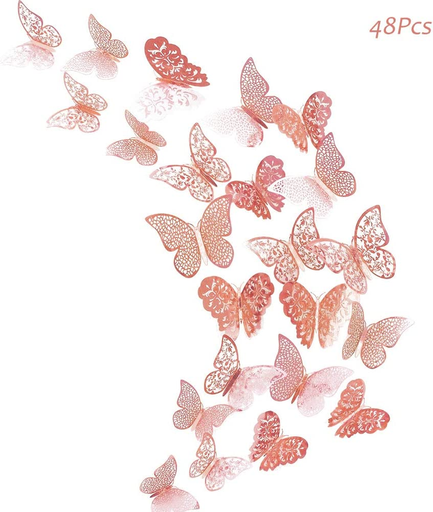 Creatiee 48Pcs Butterfly Decorations, 3D Wall Decals|Metallic Art Sticker, DIY/Handmade/Removable/Pressure Resistance Paper Murals Gift for Home Kids Bedroom Nursey Party Décor (Rose Gold)
