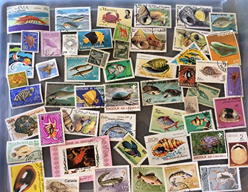 50 Fish and sea creatures, shells, topical stamps, worldwide
