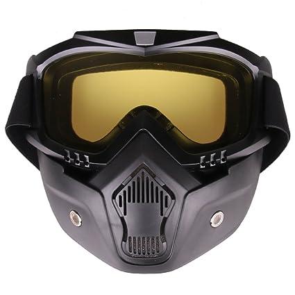 Fansport MáScara Protectora para Gafas De Motocicleta Filtro Bucal Protectora Gafas para Ciclismo con MáScara Desmontable