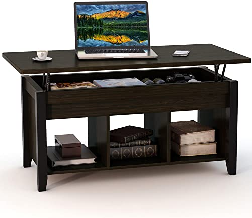 Tribesigns Lift Top Coffee Table with Hidden Storage Compartment and Lower Shelf for Living Room, Solid Wood Legs Black Walnut