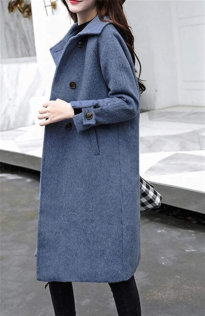 Bigbarry Womens Stylish Overcoat Wool-Blend Double Breasted Lapel Pea Coat