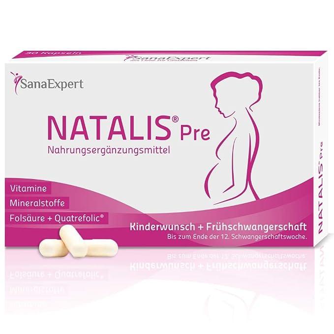 SanaExpert Natalis Pre, Suplemento Vitamínico para la Concepción y Mujeres en Embarazo con Ácido Fólico, Vitamina D, Hierro, Vitaminas para la Fecundación- ...