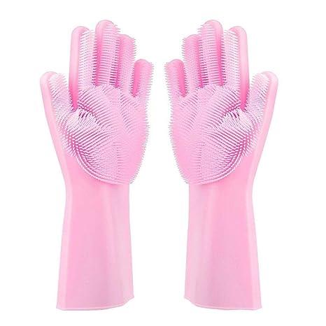 KOBWA Silikon-Handschuhe, magische Geschirrspülhandschuhe, mit Schrubber, hitzebeständig, Wiederverwendbare Reinigungshandsch
