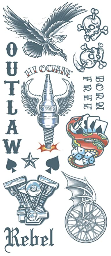 27cc060d3 Amazon.com: Tinsley Transfers Outlaws Biker Temporary Tattoo FX Costume  Kit: Toys & Games