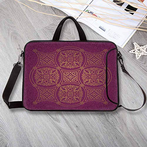 "Purple Mandala Neoprene Laptop Bag,Persian Ornamental Lace Pattern Traditonal Authentic Arabic Folkloric Boho Design Laptop Bag for Office Worker Students,14.6""L x 10.6""W x 0.8""H"