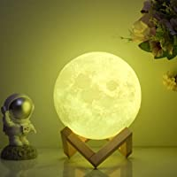 Moon Lamp 3D Printed Dimmable Timer Moonlight, 16 Colors with Stand & Remote & Touch Control & USB Rechargeable, Lunar…