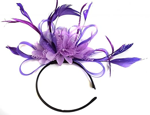 Purple and Lilac Feather Hair Fascinator Headband Wedding and Royal ... 5b506076ceb