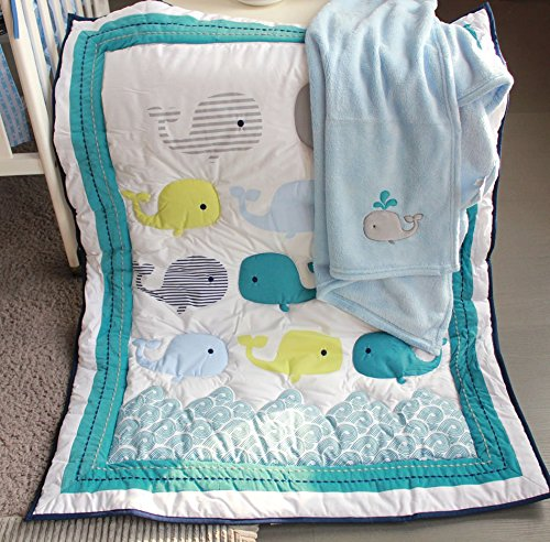 NAUGHTYBOSS Unisex Baby Bedding Set Cotton 3D Embroidery Ocean Whale Quilt Bumper Bed Skirt Mattress Cover Blanket 8 Pieces Ocean Blue by NAUGHTYBOSS (Image #4)