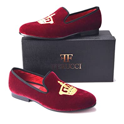 outlet for sale enjoy free shipping largest selection of FERUCCI Handmade Burgundy Men Velvet Slippers Loafers with Gold Crown