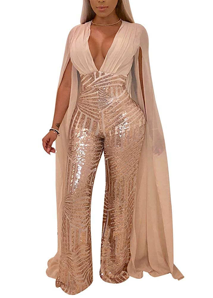 a901d9d06678 Amazon.com: OLUOLIN Women's Sexy See Through Mesh Sequin Glitter V Neck  Split Floor Length Sleeve Backless Wide Leg Pants Jumpsuit: Clothing