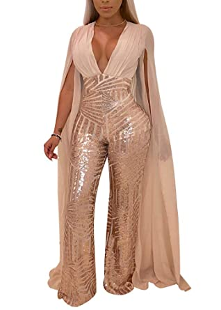 358e7b8e1b9 Women s Sexy See Through Mesh Sequin Glitter V Neck Split Floor Length  Sleeve Backless Wide Leg