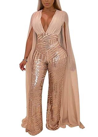 b1fb497c2dfb Women s Sexy See Through Mesh Sequin Glitter V Neck Split Floor Length  Sleeve Backless Wide Leg