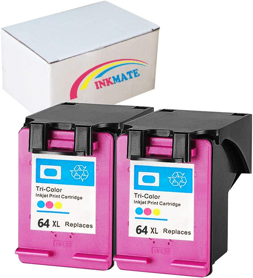 INKMATE Re-Manufactured Ink Cartridge Replacement for 64XL for HP N9J91AN HP Envy Photo 6255 7155 7855 2Tri-Color 2Pack