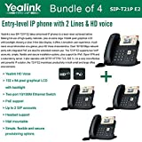 Yealink SIP-T21P E2 Bundle of 4 Entry-level IP phone 2 Lines HD voice PoE LCD