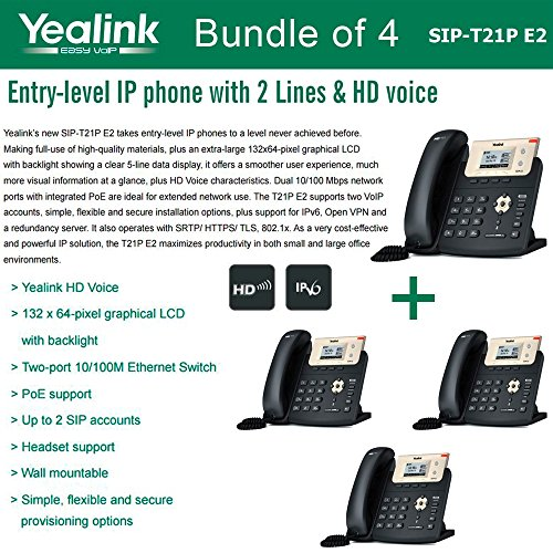 Price comparison product image Yealink SIP-T21P E2 Bundle of 4 Entry-level IP phone 2 Lines HD voice PoE LCD