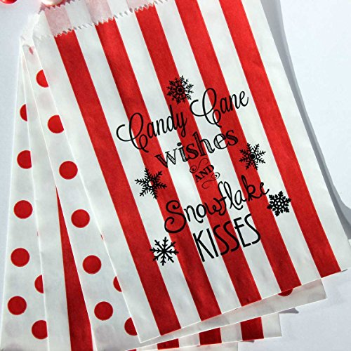(Bakers Bling Holiday Treat Bags with Stickers, Candy Cane Wishes and Snowflake Kisses, Red and White Stripe and Polka Dot Favor Bags, 5.5 x 7.5, Set of 48 )