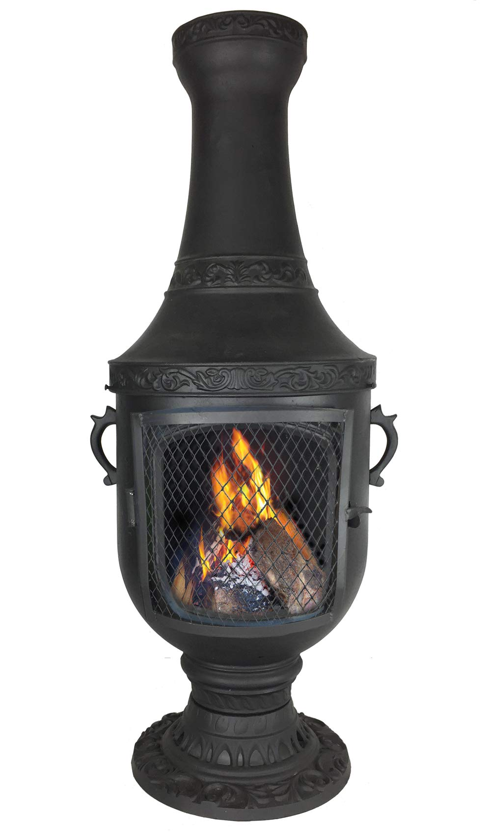 The Blue Rooster CAST Aluminum Venetian Chiminea with Gas kit and 10' Hose in Charcoal. Also Comes with a Free Year Round Cover. by The Blue Rooster