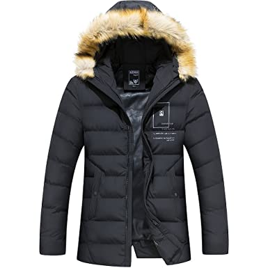 a530ca6cd Men's Ultra Loft Insulated Midlength Quilted Puffer Jacket with Faux Fur  Trimmed Hood Parka Black US