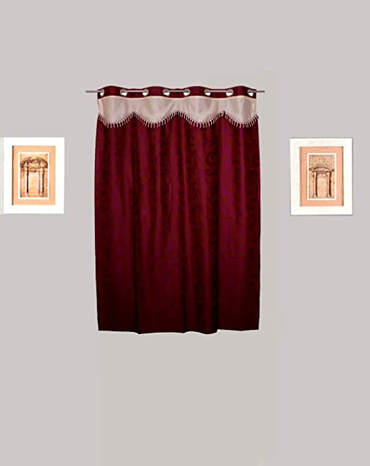 Tidy Polyester Maroon, Purple Floral Eyelet Window Curtain  150 cm in Height, Single Curtain  Curtains