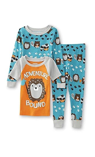 WonderKids Toddler Boys 3 Pc Pajamas Set - 2 Shirts & Pants (5T, Adventure
