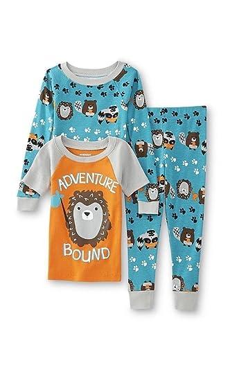 Amazon.com  WonderKids Toddler Boys 3 Pc Pajamas Set - 2 Shirts ... f8f7fcfa9