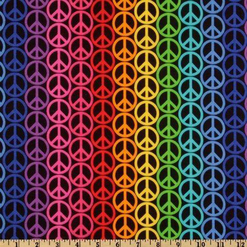 Peace Signs Stripe Multi (Peace Sign Fabric)