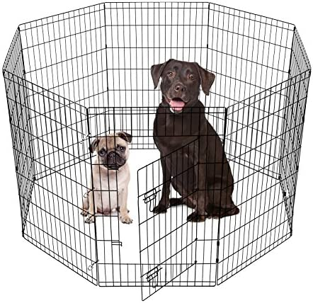 SmithBuilt Crates 8 Panel Metal Wire Popup Portable Fence Playpen Folding Exercise Yard with Door and Carry Bag, 42-Inch High, Black