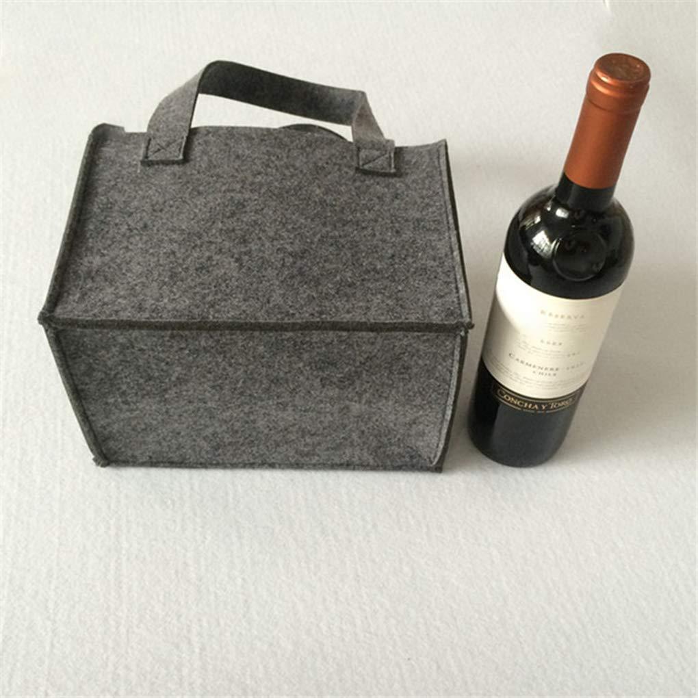 Runme Lavabili riutilizzabili rimovibile Protable Grande Felt panno memoria della birra sacchetto del vino portabottiglie viaggio Handle Bag