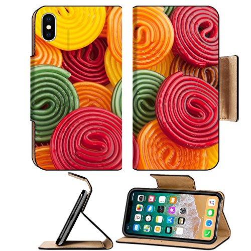 MSD Premium Apple iPhone X Flip Pu Leather Wallet Case IMAGE ID: 7713101 colorful licorice candy drop rolls as (Licorice Matte)