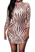 Cruiize Womens Sexy Backless Long Sleeve Sequins Bodycon Party Dress