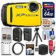 Fujifilm FinePix XP120 Shock & Waterproof Wi-Fi Digital Camera (Yellow) with 64GB Card + Case + Battery + Charger + Flex Tripod + Strap + Kit