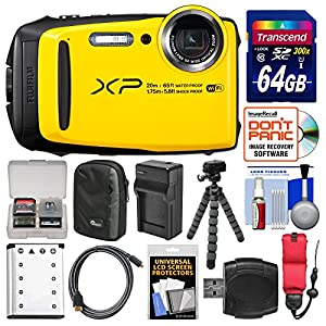 Fujifilm FinePix XP120 Shock & Waterproof Wi-Fi Digital Camera (Yellow) with 64GB Card + Case + Battery + Charger + Flex Tripod + Strap + Kit