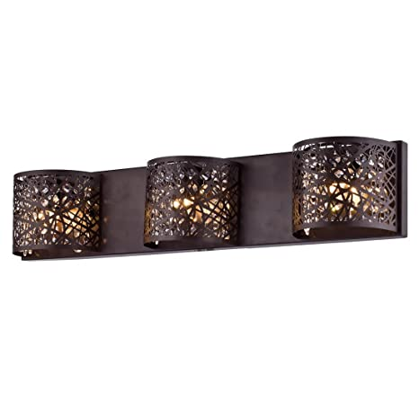 AXILAND Vintage Wall Sconces 3 Light G9 Crystal Metal Mesh Vanity Wall  Light, Oil