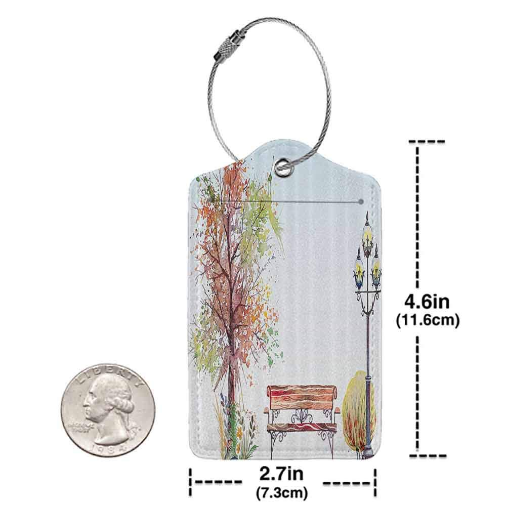 Personalized luggage tag Farm House Decor Collection Watercolors Fall Season Representation with Splash Features over Tree with Pastel Colors Easy to carry Multi W2.7 x L4.6