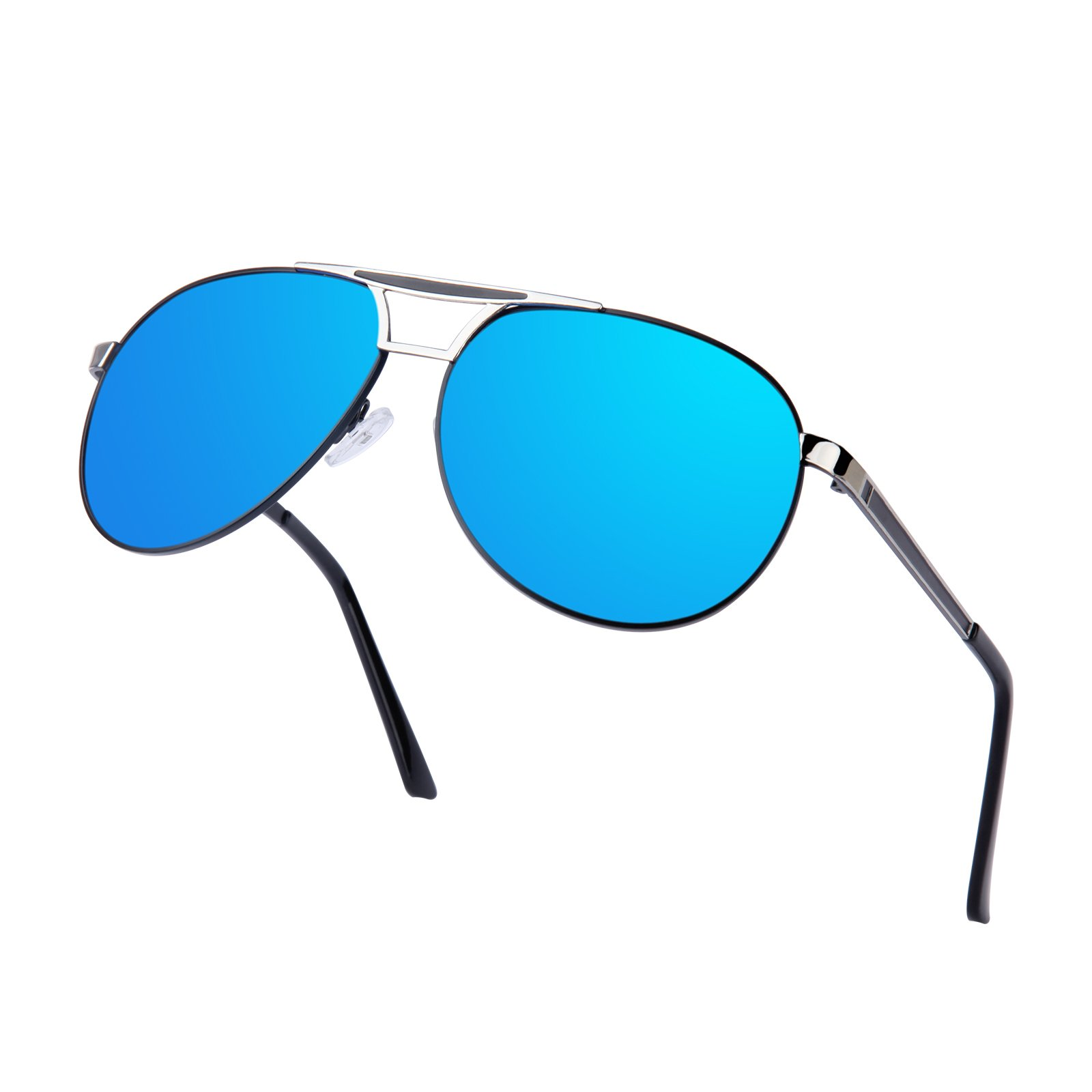 Men Aviator Sunglasses Women Vintage Polarized Pilot Sun Glasses UV 400 Protection by Kennifer (Blue)
