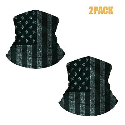 LedBack 2Pack American Flag Seamless Face Bandana Neck Gaiter Tube Headwear: Automotive