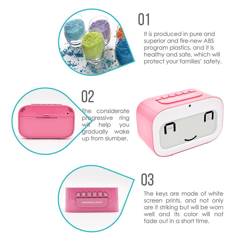 R/éveil Alarm Clock,GEREE mignon smiley r/étro/éclairage cube r/éveil des piles meilleur cadeau pour les enfants temp/érature tour horloge intelligent r/éveiller r/éveils pour chambres /à coucher