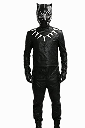 xcoser black panther costume outfit for men halloween cosplay pu leather small